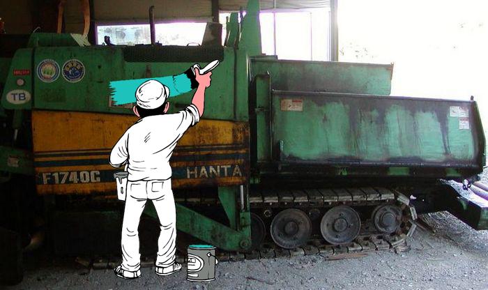 Краска для асфальтоукладчика HANTA F1740C. Подготовка и покраска. Продажа краски для спецтехники в г. Иваново. Отправка ТК по России.